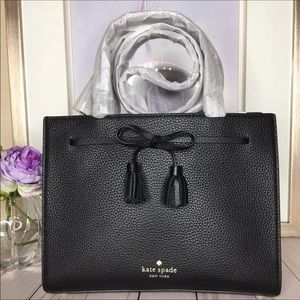 Kate Spade Black Leather Small Hayes Satchel NWT
